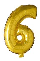 Folie ballon '6' goud 40 cm voor luchtvulling