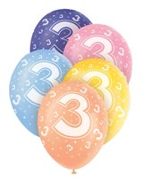 Ballonnen leeftijd 3 voor heliumvulling 5 stuks