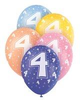 Ballonnen leeftijd 4 voor heliumvulling 5 stuks