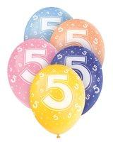 Ballonnen leeftijd 5 voor heliumvulling 5 stuks