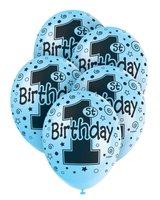 Ballonnen voor heliumvulling '1St birthday' blauw 5 stuks OP=OP