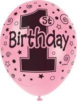 Ballonnen voor helium vulling '1St birthday' roze 5 stuks OP=OP
