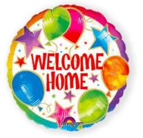 Folieballon rond  'Welcome home' met sterren en ballonprint