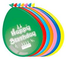 Ballonnen 'Happy Birthday' 8 stuks