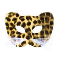 Luipaard ogenmasker luxe met witte snorharen