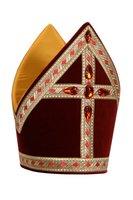 Sinterklaas kokermijter luxe, katoen fluweel met stenen
