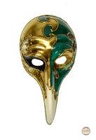 Venetiaans masker Turco Ricamo gesso met grote kromme snavel groen-wit