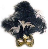 Venetiaans masker Star met verentooi goud zwart