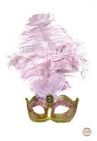 Venetiaans masker Star met verentooi goud roze