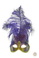 Venetiaans masker Star met verentooi goud paars