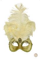 Venetiaans masker Star met verentooi goud geel