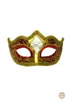 Venetiaans masker Punta Mozart rood-goud