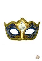 Venetiaans masker Punta Mozart blauw-goud