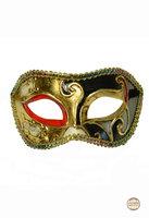 Venetiaans masker Colombina Ricamo Musica goud-zwart met rood accent
