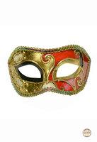 Venetiaans masker Colombina Ricamo Musica goud-rood met zwart accent