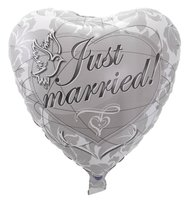 Folieballon Just Married Hartvorm