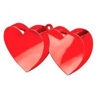 Ballongewichtje 2 hartjes rood