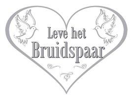 Deurbord 'Leve het bruidspaar' hartvorm 33 x 47 cm
