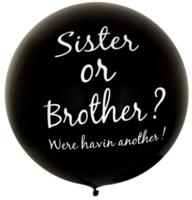 Mega ballon zwart 91cm met tekst 'Sister or Brother'