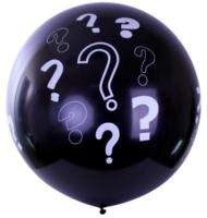 Mega ballon zwart 91cm met vraagtekens