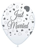 Ballonnen wit 8 stuks  'Just Married' voor helium/ballonstokje