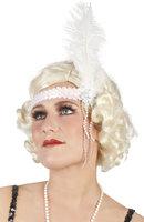 Charleston elastische hoofdband met witte veer