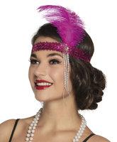 Charleston elastische hoofdband met roze veer