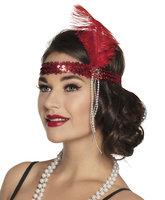 Charleston elastische hoofdband met rode veer