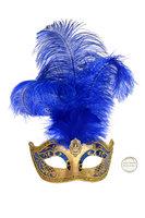 Venetiaans masker Star met verentooi goud blauw