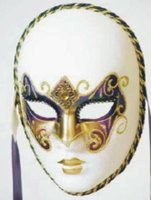Venetiaans dames masker Volto Ricamo Arcobaleno bianco