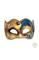 Venetiaans masker Colombina Joker Musica goud blauw