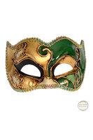 Venetiaans masker Colombina Joker Musica goud groen