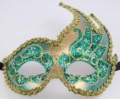 Venetiaans masker Colombina Onda Star groen-goud