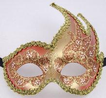 Venetiaans masker Colombina Onda Star oranje-goud