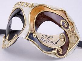Venetiaans masker Colombina Gesso zwart bruin