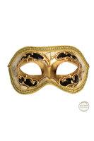 Venetiaans masker Colombina Kre goud met zwart kleuraccent