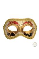 Venetiaans masker Colombina Kre goud met zwart en rood kleuraccent