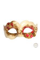 Venetiaans masker Colombina Nuvola Madras creme wit - goud -rood
