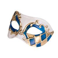 Venetiaans masker Colombina Madras blauw - wit