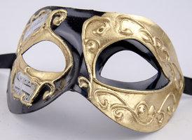 Venetiaans masker Colombina Iris goud zwart