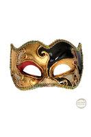 Venetiaans masker Colombina Joker Musica goud zwart