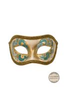 Venetiaans masker Acquirio metallic goud turquoise OP=OP