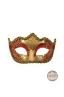 Venetiaans masker Punta Star rood goud