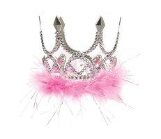 Kroon zilver mini zilver met roze rand marabou