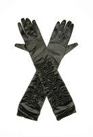 Gala handschoen zwart satijn stretch met plooitjes ca. 44 cm