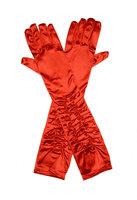 Gala handschoen rood satijn stretch met plooitjes ca. 44 cm