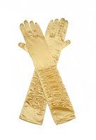 Gala handschoen goud satijn stretch met plooitjes ca. 44 cm