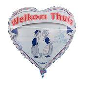 Folieballon hart  'Welkom thuis' Delfstblauw