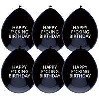 Ballonnen zwart met opdruk  'Happy F*cking Birthday'  5st