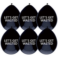 Ballonnen zwart met opdruk 'Let's get wasted' 5st